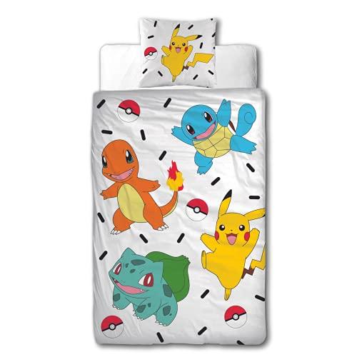 Character World Parure de lit Pokémon 135 x 200 cm + 80 x 80 cm – Pokémon Pikachu & Friends Game – 100 % coton – 2 pièces pour adolescent