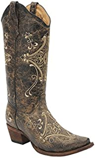 Corral Women's Circle G Crackle Scroll Bone Embroidered Western Boot