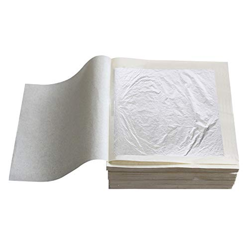 KINNO Essbare Blattsilber echtes Silber zum Basteln 6 cm x 6 cmLebensmittel Kuchen Backen Torten Schokolade Dekorfolie Künstlerbedarf 10 Blatt Lose