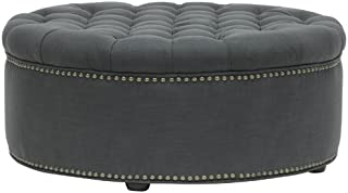 Best white leather oval ottoman Reviews