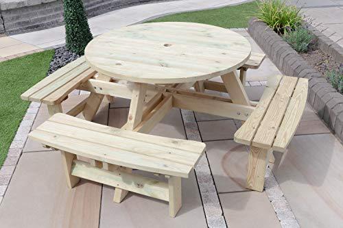 Hochwertiger, druckbehandelter 8-Sitzer-Picknicktisch aus Holz, rund, strapazierfähig