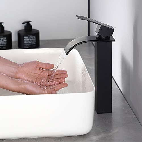 CECIPA | Ares H103B | Schwarzer Wasserhahn fürs Bad aus Edelstahl mit Wasserfallform | Hoch