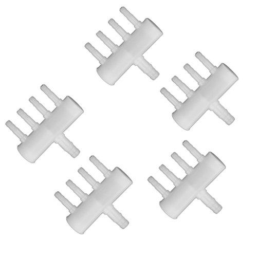 Sharplace 5 Stück Aquarium Air Flow Control Hebelventil, 4-Wege / 6-Wege / 8-Wege - 4 Wege