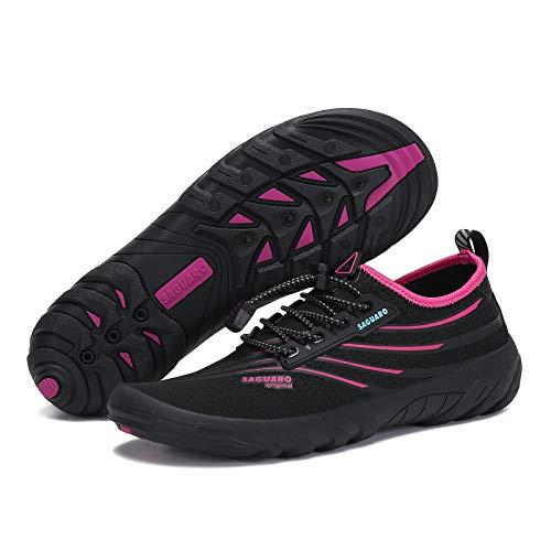 SAGUARO Water Shoes Womens Quick Dry Athletic Hiking Water Shoes Barefoot Beach Swim Shoes Kayak Surf Shoes Water Aerobics Mens Sports Water Shoe Yoga Shoe, Rose 10.5 Women/8.5 Men