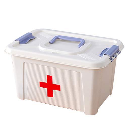 Mecotecn Medizinbox Hausapotheke, Groß Medizinbox mit Fächern und Deckel Medizinkoffer Aufbewahrungsbox für Familie, Büro (L)