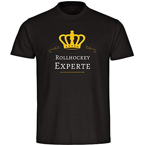 Herren T-Shirt Rollhockey Experte - schwarz - Größe S bis 5XL, Größe:M