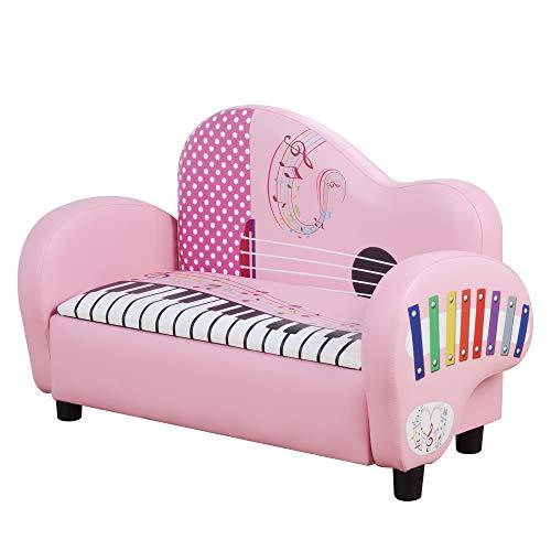 HOMCOM Kindersessel, Minisessel, Kinderzimmer Sofa in Klavierform, Kindersofa, Kindermöbel mit Stauraum, Mädchen, für 3-6 Jahre alt, 2 kinder, Rosa, 75 x 38 x 50 cm