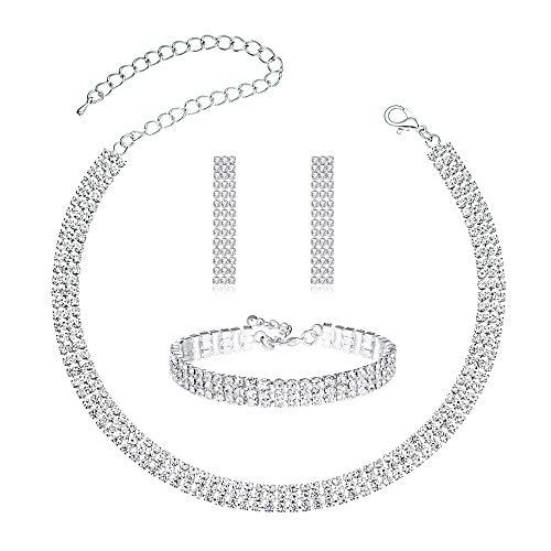 3 Pack Jewelry Sets Gift for Women Girls, Silver Plating Crystal Rhinestone Choker Necklace Link Bracelet Dangle Earrings Sets .