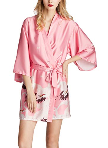 Westkun Kimono Albornoz Mujer Bata Corto Sexy y Elegante Ropa de Noche Despedida de Soltera Lenceria de Aspecto Brillante Cardigan para Novia Dama de Honor(Rosa Claro,M)