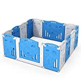 EastSun Plastic Baby Playpen Foldable for Baby and Toddler, Large Baby Fence Playpen with 14 Panels Indoor Baby Play Yard (Blue/White)