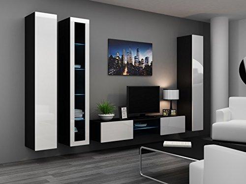 Wohnwand ' Vigo Glass I ' Glasvitrine Hängend Hochglanz Matt , Farbe:schwarz matt / weiß Hochglanz