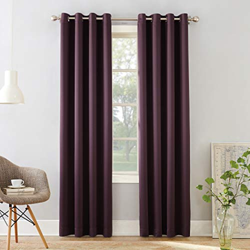 "Sun Zero 49331  Barrow Energy Efficient Grommet Curtain Panel, 54"" x 84"", Plum"
