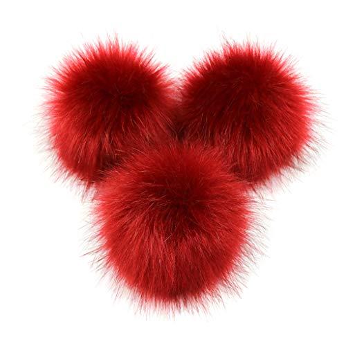 MYhose Bola mullida DIY Piel sinttica de visn Artificial Bola de pompn esponjosa Color slido para Tejer Sombrero Zapatos Bufandas Bolso Adorno de encantos B # Vino Rojo 2# 10 cm