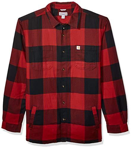 Carhartt Men's Rugged Flex Hamilton Fleece Lined Shirt (Regular and Big & Tall Sizes), Dark Crimson, Large