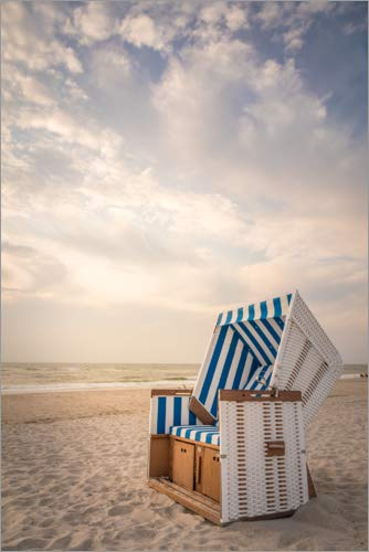 Posterlounge Hartschaumbild 20 x 30 cm: Sylter Strandkorb im sanften Abendlicht von Christian Müringer