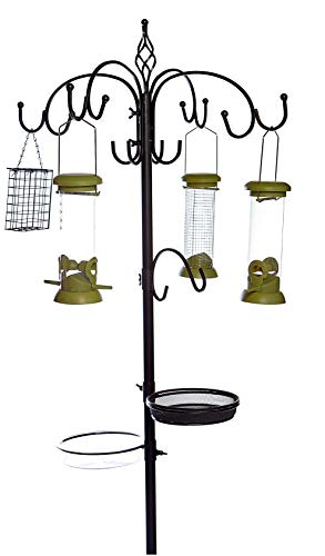 Metal Garden Ultimate Wild Bird Feeding Station Complete With 4 Bird Seed and Peanut Suet Feeders Micro Mesh Dish & Water Bathing Bowl
