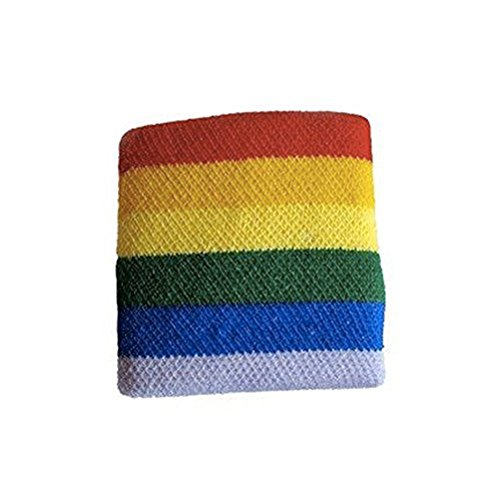 Gay Pride Rainbow Wristband (Stretchy Exercise/Sport Bracelet) - LGBT Gay & Lesbian Pride Acessories (Rainbow Wristband)