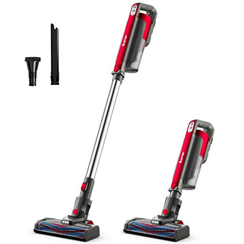 Vacuum Cleaner - Cordless Stick - Best Rated with Long Battery Life - Multifunctional Bagless Stick Vacuum - LED Lights - Rechargeable Battery Capacity 2200mah - 2 Adjustable Power Modes (Red)