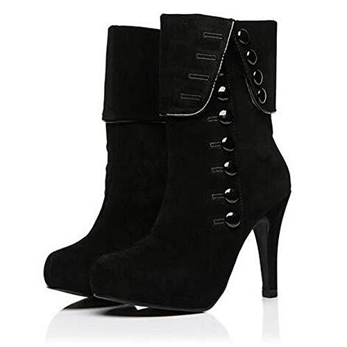 CHUANGJIE laarzen met hoge dikke hak met bont suède platform enkellaarsjes kant omhoog rits 8 cm gesp winter warm comfortabel outdoor
