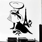 WERWN Moda Mujer Pared calcomanía París Francia Torre Hermosa niña Flor Vinilo Ventana calcomanía Dormitorio Ropa Interior de Tienda Art Deco