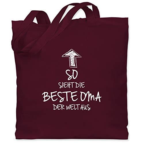Shirtracer Oma - So sieht die beste Oma der Welt aus - Unisize - Bordeauxrot - beste oma tasche - WM101 - Stoffbeutel aus Baumwolle Jutebeutel lange Henkel