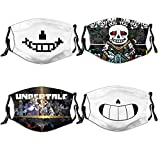 Skyteelor Un-der-tale Smile Sans Anime Cosplay Merch Shield for Teens Adults Men Women Dustproof Protective Reusable Face Cover Washable Adjustable Mouth Cover 4 PCS Cloth