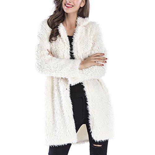 Gloria JR Womens Fuzzy Faux Lamb Fur Coat Long Jacket Notched Lapel Mid Long Coat (Large, White)