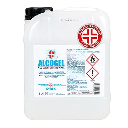 Tanica da 5 Litri Gel Disinfettante Mani Professionale Igienizzante Antibatterico - Presidio Medico Chirurgico Elimina Odori fino al 99,9% di Germi Funghi Batteri e Virus. Prodotto Italiano (5000ml)
