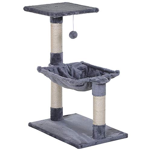 PawHut 70cm Cat Tree Durable Natural Sisal Scratching Posts Hammock Bed Kitty Activity Center Grey