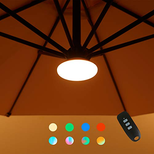 Bluu Patio Umbrella Lights Colorful Light for Umbrella with 3 Brightness LED Lights Outdoor - High Lumen for Garden, Patio, Camping, Tents or Indoor Use…