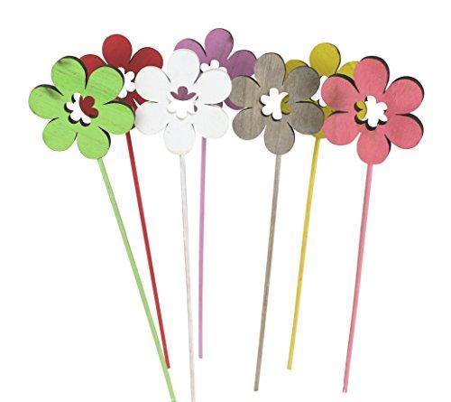 Decoline Blumen-Stecker Set aus Holz bunt 7 Stück
