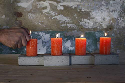 Kerzenhalter aus Beton [fireblock]   moderne Weihnachtsdeko für 4 Kerzen (5cm Durchmesser) als Adventskranz