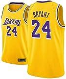 Kobe Bryant Jersey Camiseta de Baloncesto para Hombre de Los Angeles Lakers # 24 Jersey de Baloncesto Bordado de Malla Bordada (Amarillo, L)