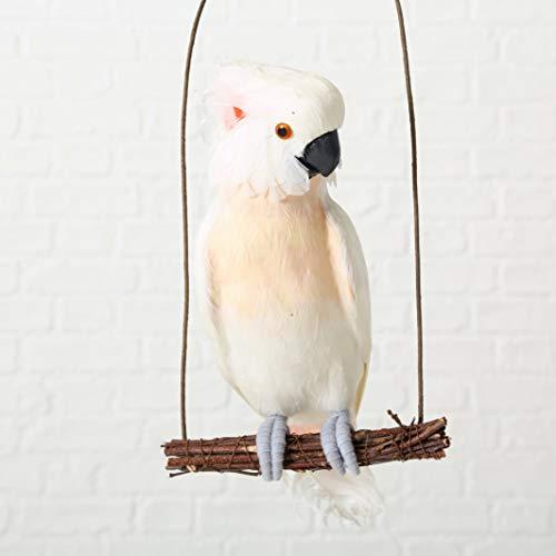 Boltze Kakadu auf Schaukel Deko Vogel mit echten Federn H 47 cm