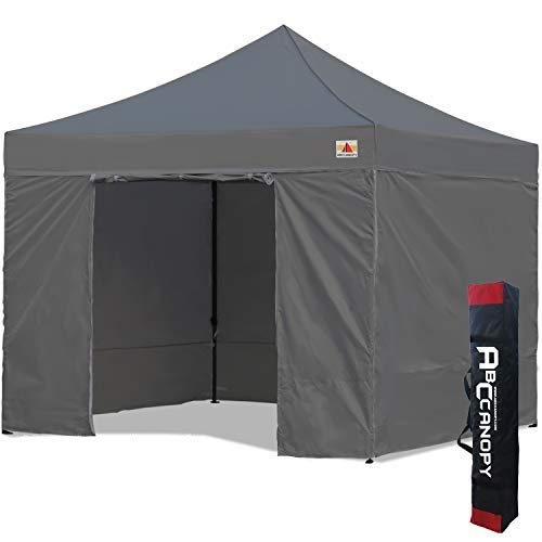 ABCCANOPY 3x3 Pop Up Gazebo Canopy Commercial Tents Market stall with 4 Removable Sidewalls and Carry Bag .(3x3,Dark grey)