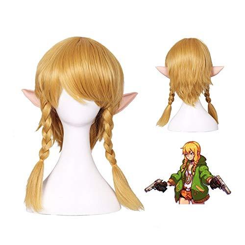 The Legend of Zelda: Breath of the Wild Link Short Golden Braids Style Resistente al calor Disfraz de cosplay Peluca con orejas + Peluca CapDM-962