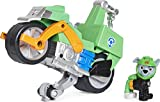 Paw Patrol, Moto Pups Rocky's Deluxe Pull Back Motorcycle Vehicle with Wheelie Feature and Toy Figure