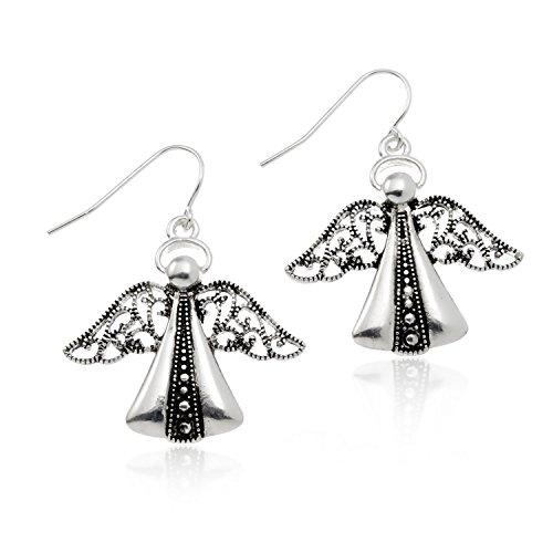 PammyJ Silvertone Detailed Angel Religious Earrings
