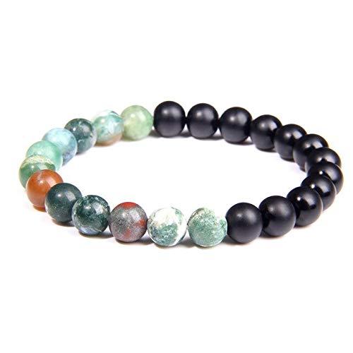 KEJI Men Charm Bracelet 8Mm Natural Turquoises Agates Beads Energy Bracelet Tiger Eye Stone Elastic Bracelet For Women Men