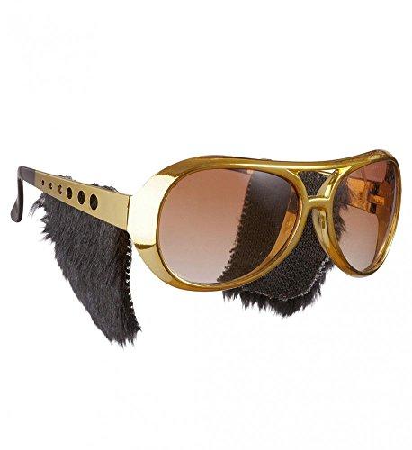 shoperama Gafas de sol doradas con patillas para disfraz, estilo aos 50, estilo retro, rock 'n' roll