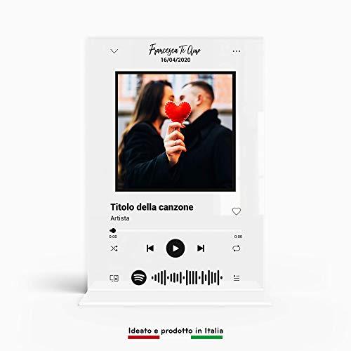 PIXEL ARTIGIANI DIGITALI Spotify Code Personalizzato Targa Musicale Personalizzata plexiglass Idea Regalo Nome Canzone Artista Foto Compleanno fidanzati Matrimonio Anniversario Festa Mamma papà