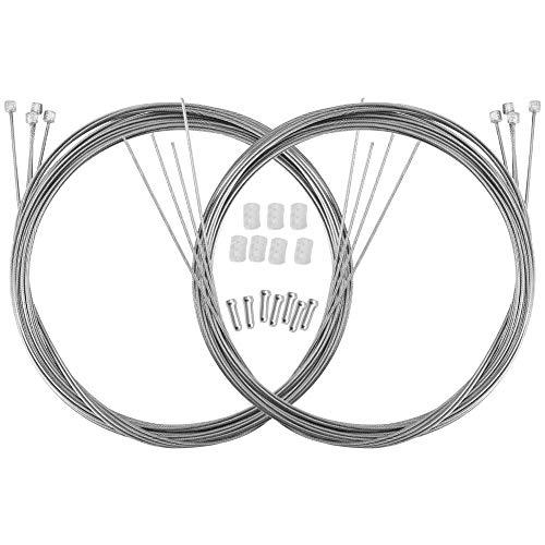 SUSSURRO 4 Stück Bremszug, 4 Stück Schaltzug mit 8 x Endhülsen, Stahl Bremse Kabel Schaltseil Set für Mountainbike Rennrad Fahrrad, Universal Fahrrad Bremsseil und Schaltseil