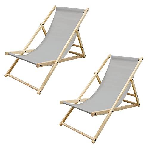ECD Germany 2X Sillas de Playa de Madera de Pino 3 Posiciones de Reclinación Plegable...