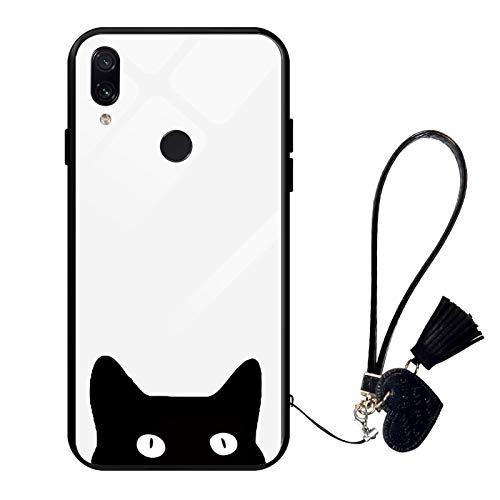 Suhctup Compatible con Xiaomi Mi A2 Lite Funda Vidrio Templado con Cordón Cuerda y Dibujos Diseño Carcasa TPU Cuadro Suave Bumper Anti-Choques Anti-Arañazos Cover,Gato