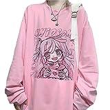 Yearinspace Women's Pink T-Shirt Harajuku Anime Print Oversized Loose Retro Long Sleeve XXL