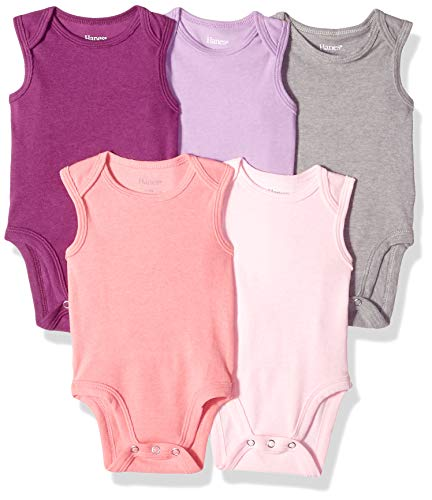 Hanes Ultimate Baby Flexy 5 Pack Sleeveless Bodysuits (Tanks), Purple/Pink, 18-24 Months