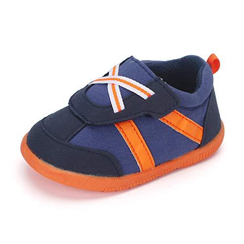 LACOFIA Baby Jungen Freizeit Sneakers Kleinkind Lauflernschuhe rutschfeste Gummisohle Klettverschluss Turnschuhe Blau 23 EU