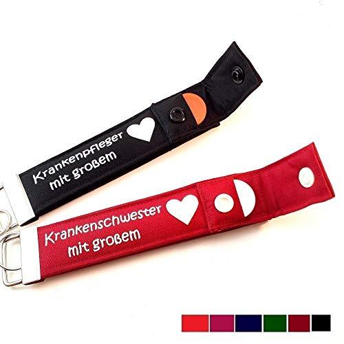 Krankenschwester mit großem Herz (oder Krankenpfleger) PERSONALISIERTER Schlüsselanhänger mit Chip Geschenk für Pflegepersonal kleines Dankeschön zum Abschied Schlüsselband, 1 STÜCK