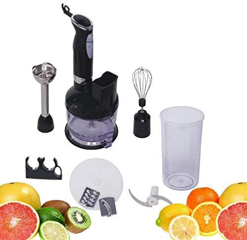 Batidora de mano eléctrica de inmersión de 2 velocidades con vaso y cortador de verduras 6 en 1, kit de preparación de alimentos, mango ergonómico, sin BPA, 450 W, perfecto