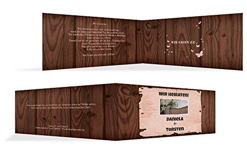 Hochzeitskarten: Hochzeitseinladung Steckbrief, hochwertige Einladung zur Heirat inklusive Umschläge | 15 Karten (format: 215.00x105.00mm) color: Braun
